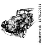 sketch with a retro car on a... | Shutterstock . vector #1370120381