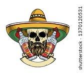 hand drawn sketch  color skull... | Shutterstock .eps vector #1370120531