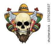 hand drawn sketch  color skull... | Shutterstock .eps vector #1370120537