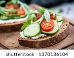 healthy food rye bread with... | Shutterstock . vector #1370136104