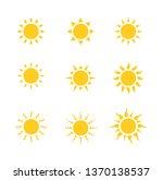 sun icon set isolated on white...   Shutterstock .eps vector #1370138537