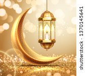 golden crescent and lantern on... | Shutterstock .eps vector #1370145641