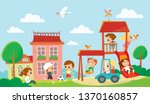 children playing on playground. ... | Shutterstock .eps vector #1370160857