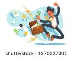 happy man jumping for joy... | Shutterstock .eps vector #1370227301