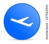 airplane blue circle web glossy ... | Shutterstock . vector #137023541
