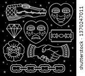 set pattern flash tattoo ... | Shutterstock .eps vector #1370247011