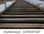Old Metal Staircase With Woode...