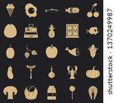 european food icons set. simple ...