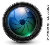 camera photo lens with shutter.   Shutterstock .eps vector #137026829