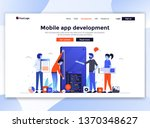 landing page template of mobile ... | Shutterstock .eps vector #1370348627