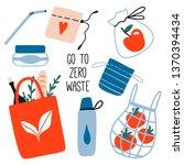 cute zero waste elements. hand... | Shutterstock .eps vector #1370394434