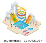 Water Park Isometric. Aquapark...