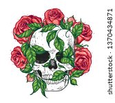 skull and roses flowers hand... | Shutterstock .eps vector #1370434871