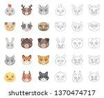 muzzles of animals cartoon... | Shutterstock .eps vector #1370474717