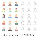 avatar and face cartoon outline ... | Shutterstock .eps vector #1370474771