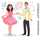 a beautiful princess and a... | Shutterstock .eps vector #1370483231