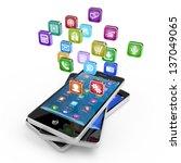 smartphone with cloud of... | Shutterstock . vector #137049065