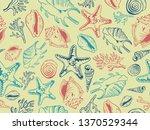 sea theme seamless pattern...   Shutterstock .eps vector #1370529344