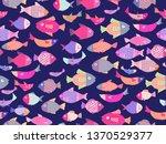 sea theme seamless pattern...   Shutterstock .eps vector #1370529377