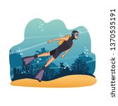 diving people in the sea | Shutterstock .eps vector #1370535191