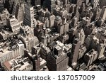 Rooftops of Manhattan in New York City (sepia toned image). - stock photo