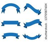 set of blue ribbon banner icon... | Shutterstock .eps vector #1370587604