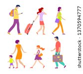 various people going to airport ... | Shutterstock .eps vector #1370594777