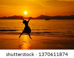 relax woman jumping sea on the... | Shutterstock . vector #1370611874