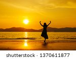 relax woman jumping sea on the... | Shutterstock . vector #1370611877
