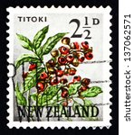 Small photo of NEW ZEALAND - CIRCA 1961: a stamp printed in the New Zealand shows Titoki Flower, Alectryon Excelsus, Tree, circa 1961