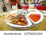 malaysian chicken satay with... | Shutterstock . vector #1370631104