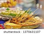 malaysian chicken satay with... | Shutterstock . vector #1370631107