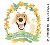 cute dog is smiling and showing ... | Shutterstock .eps vector #1370634371