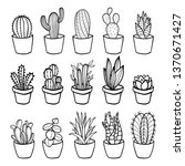 vector line drawing cactus and... | Shutterstock .eps vector #1370671427