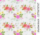 hand drawn colorful flowers...   Shutterstock .eps vector #1370676767