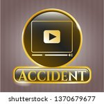 gold emblem with video player... | Shutterstock .eps vector #1370679677