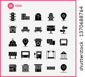 town solid glyph icons set for...