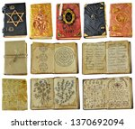 design set with old witch books ... | Shutterstock . vector #1370692094