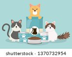 cute little cats with food | Shutterstock .eps vector #1370732954