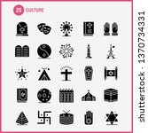 culture solid glyph icons set...