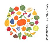 fruits and vegetables. flat... | Shutterstock .eps vector #1370737127