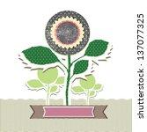 grunge flowers illustration... | Shutterstock .eps vector #137077325