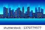 night city  urban view flat... | Shutterstock .eps vector #1370779577