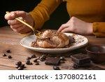 woman eating tasty panna cotta...   Shutterstock . vector #1370802161