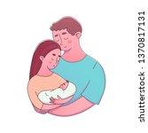 parents embracing newborn with... | Shutterstock .eps vector #1370817131