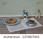 english teacup with saucer ... | Shutterstock . vector #1370827601