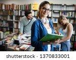 happy young university students ... | Shutterstock . vector #1370833001