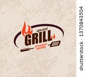 bbq and grill  stylized vector... | Shutterstock .eps vector #1370843504