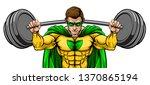 superhero cartoon sports mascot ... | Shutterstock .eps vector #1370865194