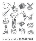 spain line icons set. spanish... | Shutterstock .eps vector #1370872484